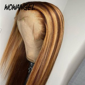 Women Straight Honey Blond Ombre Highlight Color 180% 360 Lace Front Human Hair Wigs Remy Brazilian Invisible Pre Plucked
