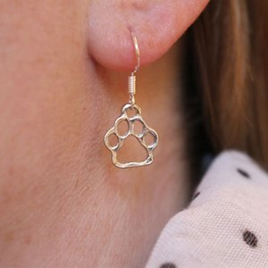 Hot vente chien chat animal creux amant impression patte Dangle chiot mignon boucles d'oreilles empreinte animale Bijoux