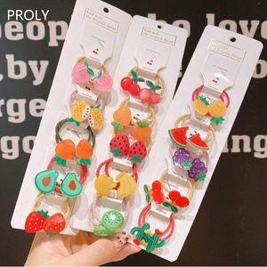 PROLY 5 / Adet / Set Yeni Çocuklar Meyve Saç Halat Kızlar Şeker Renk Saç Yüzük Üst Kalite Plastik Renkli Elastik Bantlar