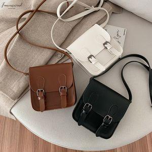 Womens Solid Color Double Pu Buckle Large Capacity Shoulder Crossbody Messenger Bag Handbags Mochila Bolsa Mujer Feminina 35