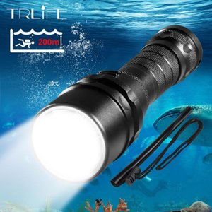 Scuba buceo profesional Light 200 Meter L2 impermeable Diving IPX8 Underwater LED Camping Lanterna antorcha por 18.650
