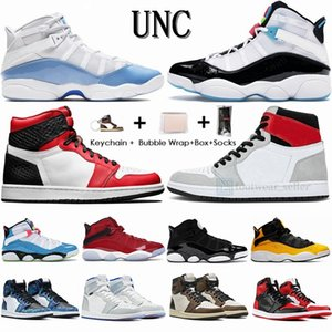 Air Jordan 1 Jumpman sapatos 2020 UNC 6 anéis 6s homens de basquete momentos decisivos criados Retros concórdia 1 1s Satins Cobra fumaça cinza Sports Sneakers