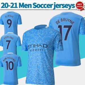 2021 Soccer City Maillots Man # 17 Bruyne 20/21 Hommes Accueil Soccer Shirts # 9 G.JESUS # 10 KUNAGUERO personnalisés Uniformes Football