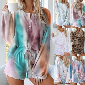 Lady Tie-dye Pajamas Women Home Service Two Piece Suit Female Sexy Shorts Long Sleeved Casual Set Two Piece Outfits Tracksuit LJJP194
