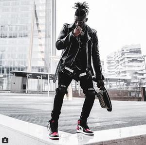 New Designer Fashion Mens Jean Street Black Holes White Stripes Jeans Hiphop Skateboard Pencil Pants 2020