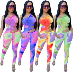 Womens Sexy Tie Dye Print One Shoulder Club Jumpsuits Gradient Hole Waist Cut-out Slim Long Body Suits Nightclub Playsuits Catsuits Blue Red