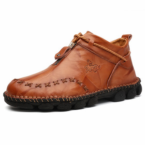 Vizueta Men's high top Oxford Boots hand sewn casual leather shoes business shoes zipper type Derby shoes mountaineering boots