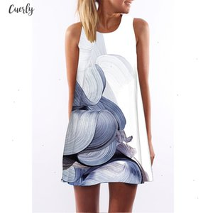 White Brief Dress Women New Fashion Feather Printing Chiffon Dress Sleeveless O Neck Summer Style Casual Dresses Designer Clothes