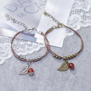 Free shipping! Wholesale female vintage red cherry bracelet simple retro village beads leaves pendant leather bangle