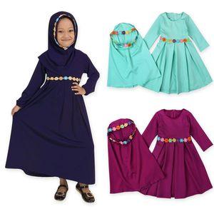 Two sets Traditional Muslim Girl dress Flower Kids clothing Abaya jilbab and abaya islamic Children hijab dresses