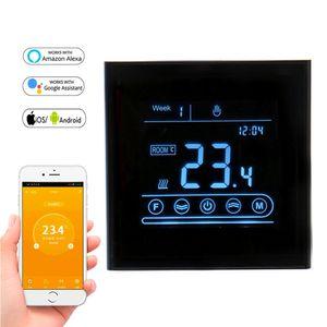 Su / Elektrik Yerden Isıtma, Su / Gaz Kazanı Makerele MK70 için APP Kontrollü WiFi Smart Termostat Sıcaklık Kontrolörü