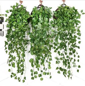 Ivy artificielle feuille verte Faux Hanging Emalation Fleur de vigne Plante rotin mariage Garden Party décor mural d'alimentation DHC341