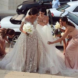 Lace Long Sleeve Wedding Dresses Arabic Dubai Bridal Gowns Sheer Neck Mermaid Vestido De Novia Long Train Robe De Mariee