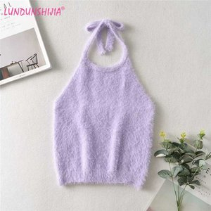 LUNDUNSHIJIA 2020 Tops mujeres del verano forman camiseta atractiva Top púrpura de felpa de tejer Halter