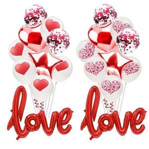 10pcs / set romántico aniversario de boda Te Amo Corazón globos Set Ballons día de San Valentín de regalo para las decoraciones de bola globo rojo Love Party