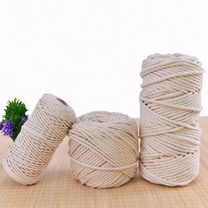 Macrame Cotton Cord 1 2 3 5 6mm Handmade Cotton Cord Thread Crochet Rope DIY Hanging Tapestry Weaving Yarn Knitting Rope Knit Ya 6Htz#