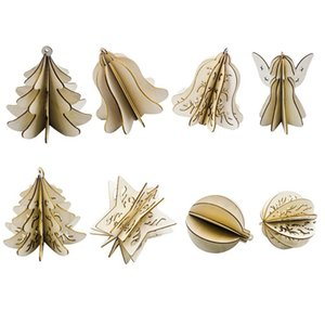 HOT-16Pcs Wood Slices Splicing DIY 3D Christmas Pendants Ornaments with String Xmas Tree Hollow Pendants Home Party Decorat