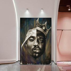 Porträt von 2PAC Tupac und Biggie Wand-Deko Poster und Drucke Abstrakte Rapper von 2PAC Leinwand Gemälde Kunst Pictures Home Decor