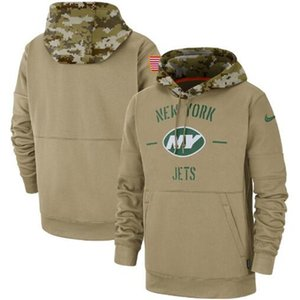 New York Men Women Kid Jets Tan Vintage Sweatshirt 2020 Salute to Service Sideline Therma Pullover Hoodie