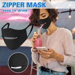 Zipper Face Mask Reusable Washable Masks Breathable cotton dust-proof Open Cycling Mouth Cover Eat Drink In Public sun-proof D72307