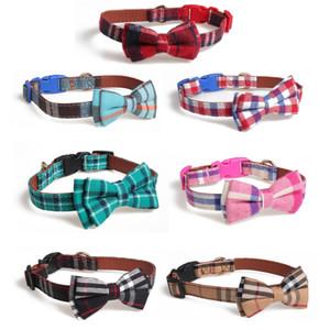 애완 동물 조절 칼라 디자이너 개 목걸이의 XD23701 버클 (7) 스타일의 격자 무늬 개 목걸이 애완 동물 나비 넥타이 칼라