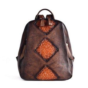 ABER Nesitu Highend New Vintage Café Vert Marron Noir 100% Véritable sac à dos femmes en cuir femme fille Lady Sac Voyage M157