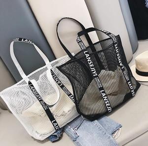 Designer- Women Handbag Luxury Hollow-out Summerc Mesh Female Bag Single Shoulder Bag Oversize Beach Shopping Bag
