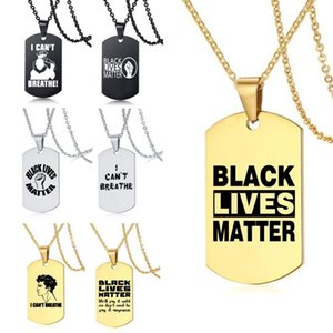 I CANT BREATHE black lives matter stainless steel necklace women men fashion hip hop gold black silve dog tag pendant necklace jewelry gift