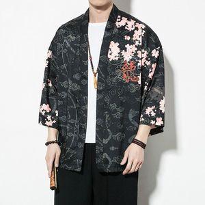 Hommes style chinois dragon Kimono Cardigan Chemises Hip Hop Streetwear Kimono shirt japonais Homme Chemise d'été