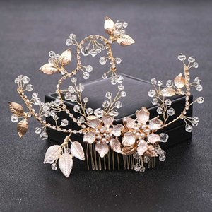 Vintage Gold Crystal Pearl Wedding Hair Combs for Bridal Hair Accessories Headpiece tiara Wedding Flower Ornaments Jewelry