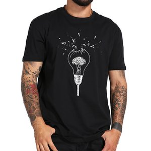 Brain T Shirt Free Your Mind Creative High Quality Soft Breathable Design Black Broken Light Bulb T-Shirt 100% Cotton