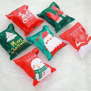 크리스마스 장식 조직 상자 능직 원단 티슈 박스 커버 메리 크리스마스 산타 눈사람 인쇄 티슈 상자
