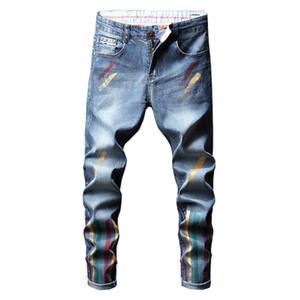 Мужская мода Streetwear Цветные окрашены в синий цвет денима джинсы вскользь тонкой Тощий Stretch Карандаш Мужской Брюки