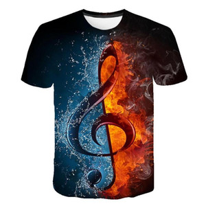 2020 New T-shirt Men's Music T-shirt 3d Water and Fire Musical NotesT-shirt Shirt Print Gothic Anime Clothing Short Sleeve T-Shi