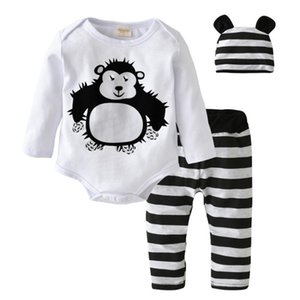 Newborn Baby Clothing Set Infant Baby Boy Girl Long Sleeve Cartoon Orangutan Rompers Tops+Pants+Hat 3Pcs Casual Clothes Outfits