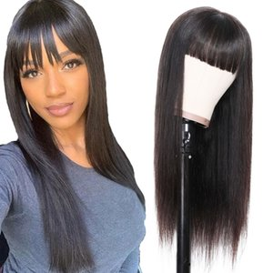 Zoran Non Remy Straight Human Hair Wigs with Bangs Natural Black Peruvian Full Machine Made Wig for Black Women 10-24 Inch