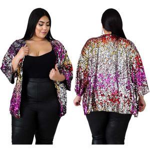 Brasão Outwear Casual Tsuretobe Outono Inverno Plus Size Sequins Jacket Loose Women Long Sleeve Casacos Streetwear Cardigan Tops Fema