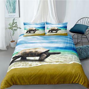Praia Set cama King Size Lifelike Mar 3D Turtle Duvet Cover Blue Sky rainha gêmeo completa Individual Duplo Design único jogo de cama