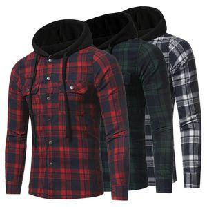 Casual Botón de comprobación de manga larga con capucha de moda Streetwear hombres de arriba franela nueva camisa Plus sudaderas tamaño 3XL