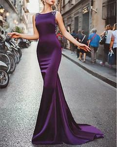 Mermaid   Trumpet Elegant Formal Evening Dress Jewel Neck Sleeveless Sweep   Brush Train Satin with Beading