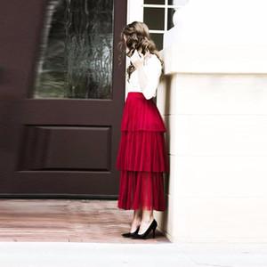 Burgundy saia longa High Fashion faldas Comprimento para o partido saia tutu hierárquico personalizado tornozelo Mulher Maxi
