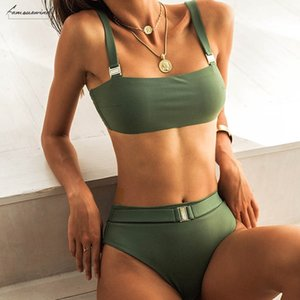 2020 Newest Sexy Bikinis Beach Wear Bathing Suits Women Swimsuit Solid Color High Waist Sequined Belt Polyester Bikini Bathing Suits