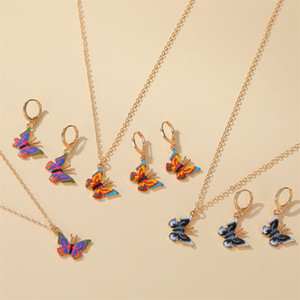 2020 Hot Colorful Butterfly Earrings Necklace Girls Women Fashion Insect Butterfly Jewelry Set Best Birthday Gift