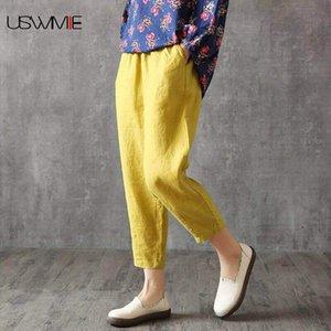 2020 Primavera Harem Pants Moda Simples Casual cintura elástica Comfort Pockets solta respirável Plus Size Nove Pants Mulheres USWMIE