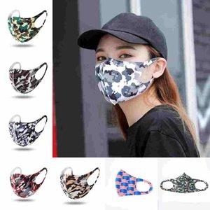 Ice Silk Floral rosto impresso Mask Dustproof Outdoor Início Camouflage Sun UV Protective 7 Cores