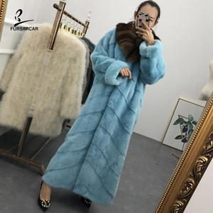 FURSARCAR 2020 Lüks Kış Gerçek Coat Kadınlar Kürk Yaka Tasarımı Orijinal Doğal Uzun Ceket Plus Size