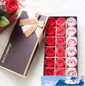 18PCS Rose Soaps Flower Packed Wedding Supplies Gifts Event Party Goods Favor Toilet soap Scented bathroom accessories SR005
