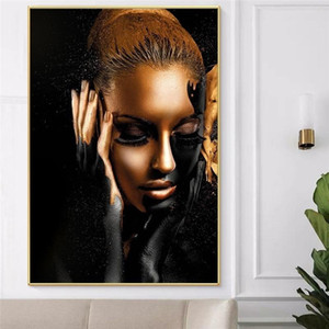 Black Gold African Woman Wall Art Canvas Oil Painting Nude Art Posters and Prints Scandinavian Wall Picture for Living Room Home Decor