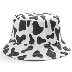 INS bonito Reversible Black White impressão Vaca Padrão chapéu de pesca Bucket Chapéus Homens Mulheres Verão dois Fisherman Side cap Travel Panama