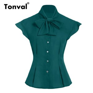 Tonval Bow Tie Neck Tunic Chiffon Vintage Blouse Women Tops 2019 Cap Sleeve Office Blouses Green Summer Shirt Top Y200622